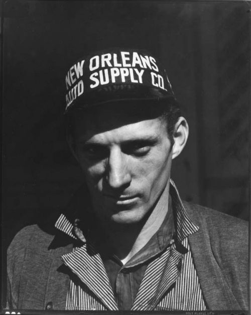 Walker Evans photographed this unidentified garage mechanic in New Orleans, Louisiana in January 1936