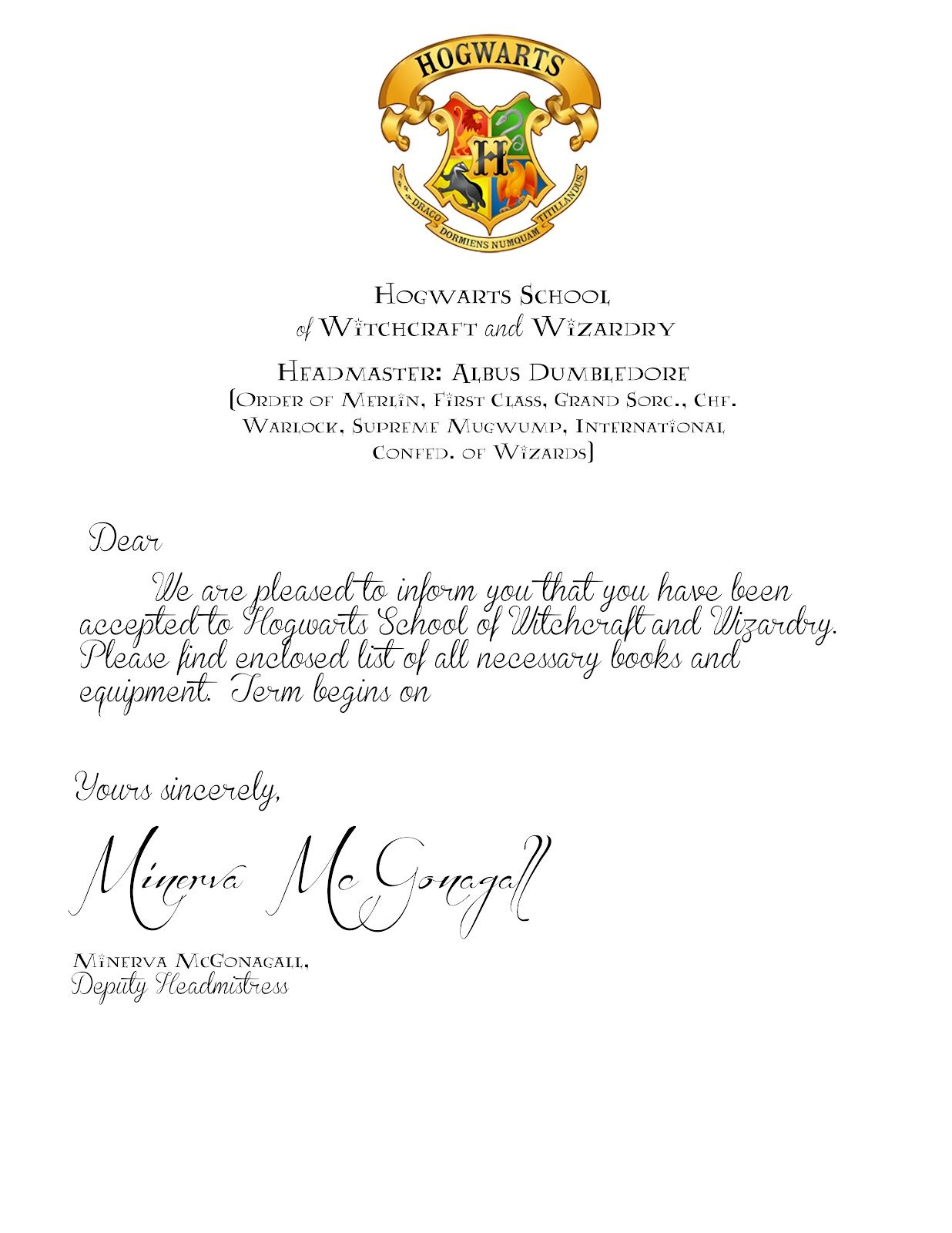 image about Harry Potter Acceptance Letter Printable named My Cotton Creations: Relatives Lifetime: Harry Potter Celebration No cost