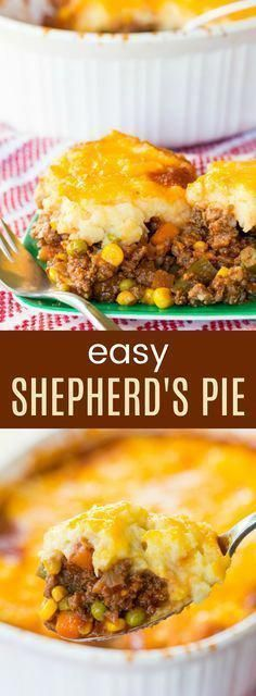 Shepherd's Pie - an easy recipe for the classic meat and vegetable casserole topped with cheesy mashed potatoes. Always a family-favorite comfort food meal, and it's gluten free. #easyrecipes #shepardspie