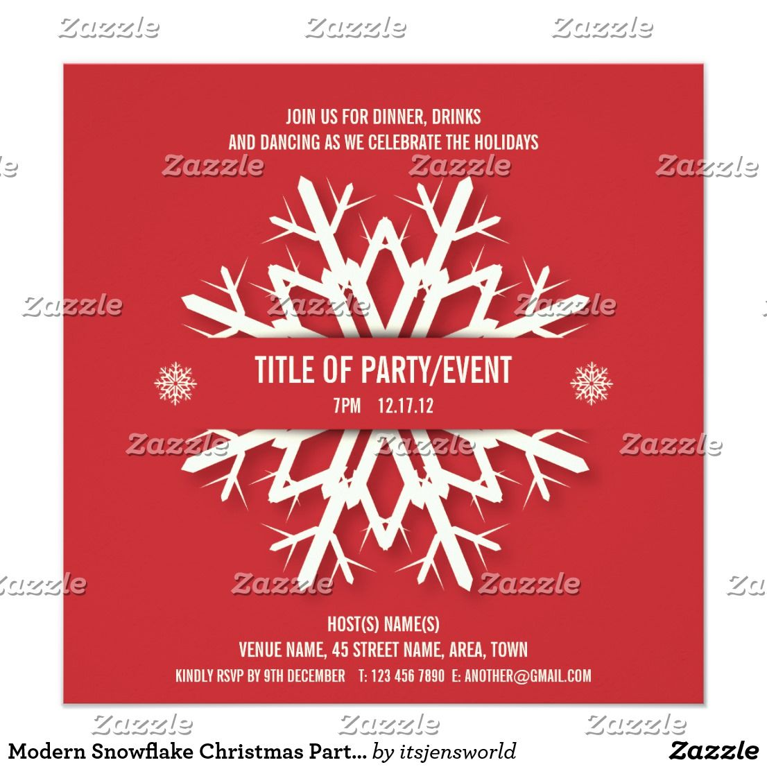 Modern Snowflake Christmas Party Invitation Red   Party invitations