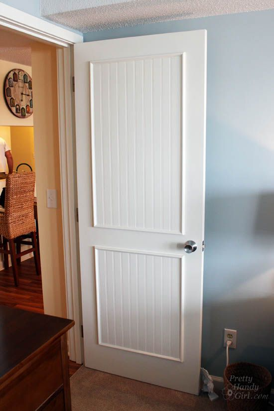How to Add Panels to Flat Hollow Core Door | Pretty Handy Girl -do to the inside of our downstair bathroom door?