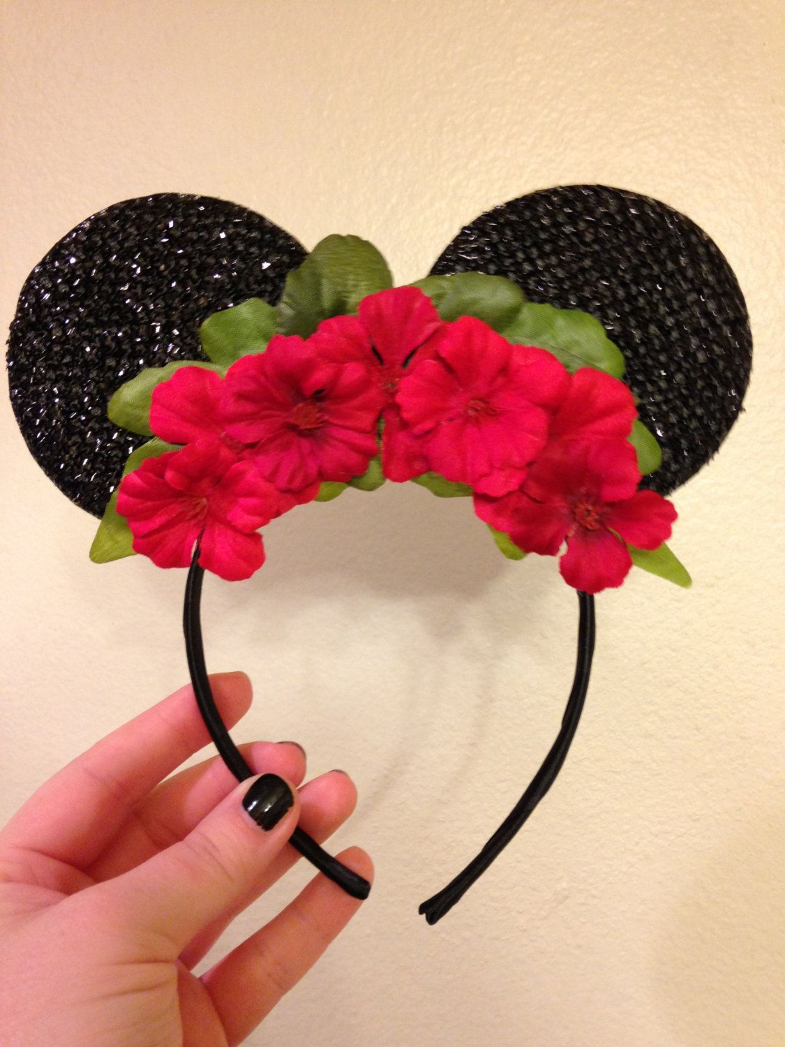 Minnie mouse ears with red flower crown red flower crown flower minnie mouse ears with red flower crown izmirmasajfo Images