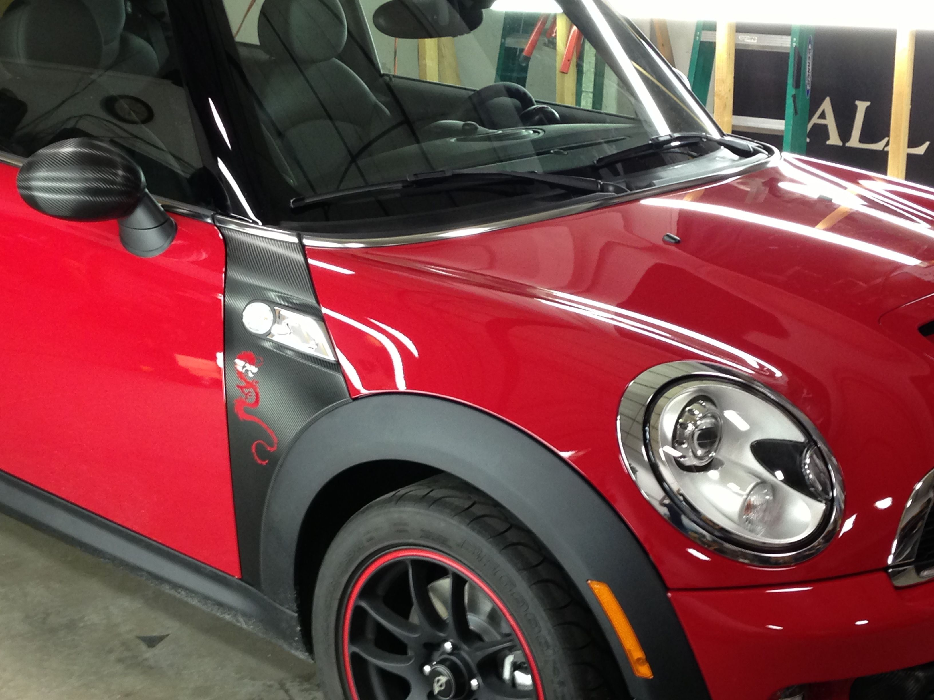 Premier graphics custom dragon decal on a mini cooper in denver colorado vehicle wraps