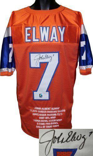 brand new 26ff0 21a14 John Elway signed Denver Broncos Orange Prostyle Stat Jersey ...