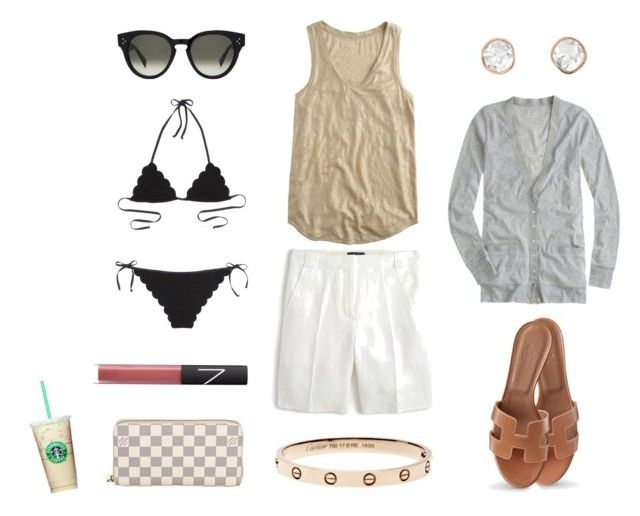 """""""Hamptons Coffee Break"""" by pinkngreennblack ❤ liked on Polyvore featuring J.Crew, Chloé, CÉLINE, Louis Vuitton, NARS Cosmetics, Sally Agarwal, Hermès and coffeebreak"""