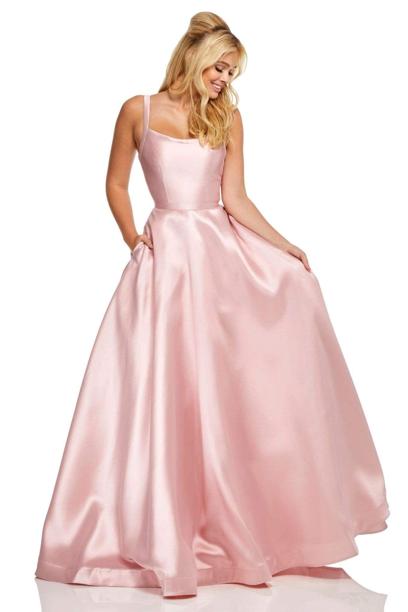 Sherri Hill 52715 Scoop Neck Strappy Back Long A Line Satin Dress In 2021 Sherri Hill Prom Dresses Long Prom Dresses With Pockets A Line Prom Dresses [ 2048 x 1365 Pixel ]