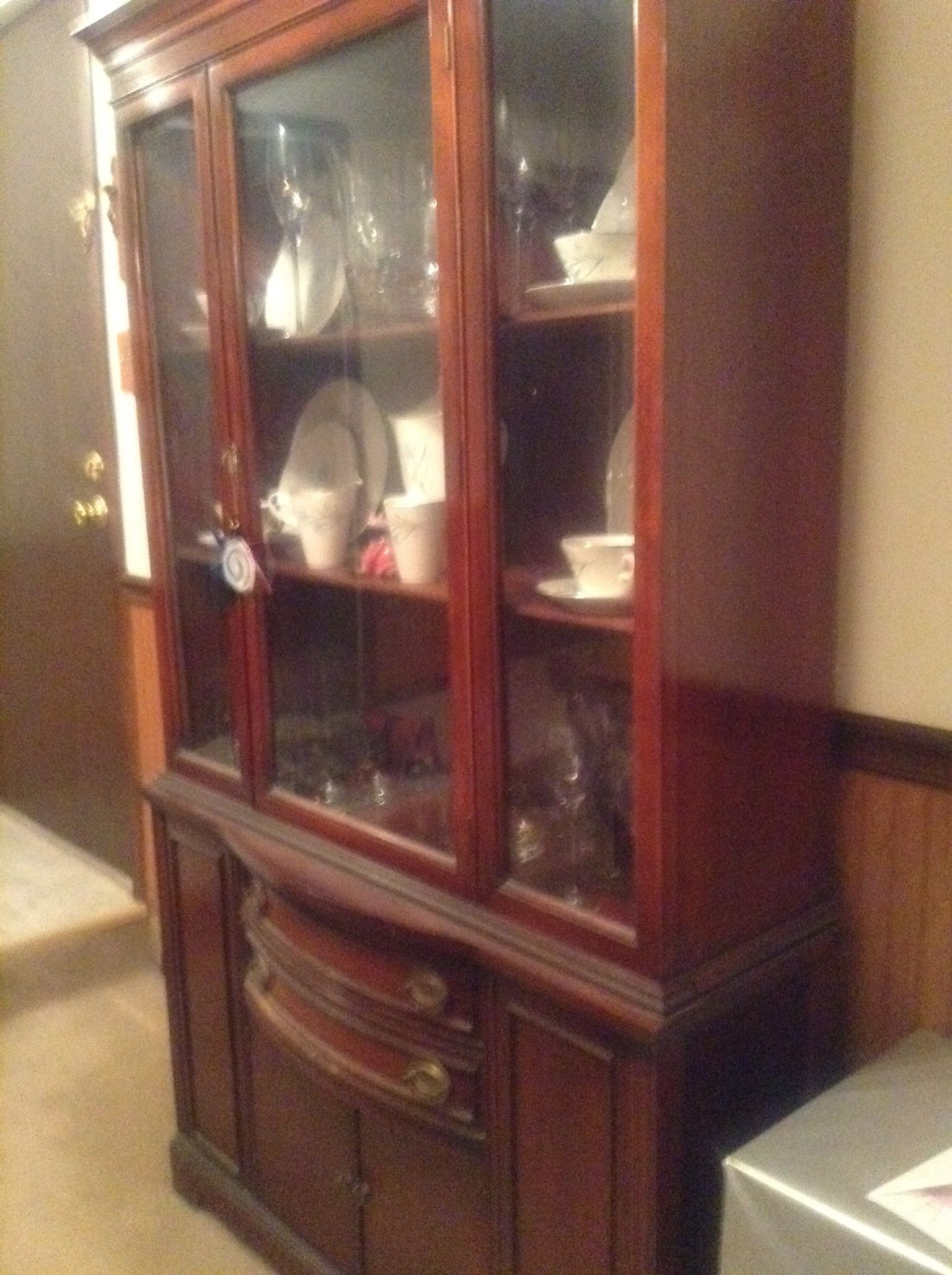 1947 Duncan Phyfe Mahogany China Cabinet in Cwoods Garage Sale in Crestwood  , IL for $500. 1947 Duncan Phyfe Chia Cabinet. Good condition. - 1947 Duncan Phyfe Mahogany China Cabinet In Cwood's Garage Sale