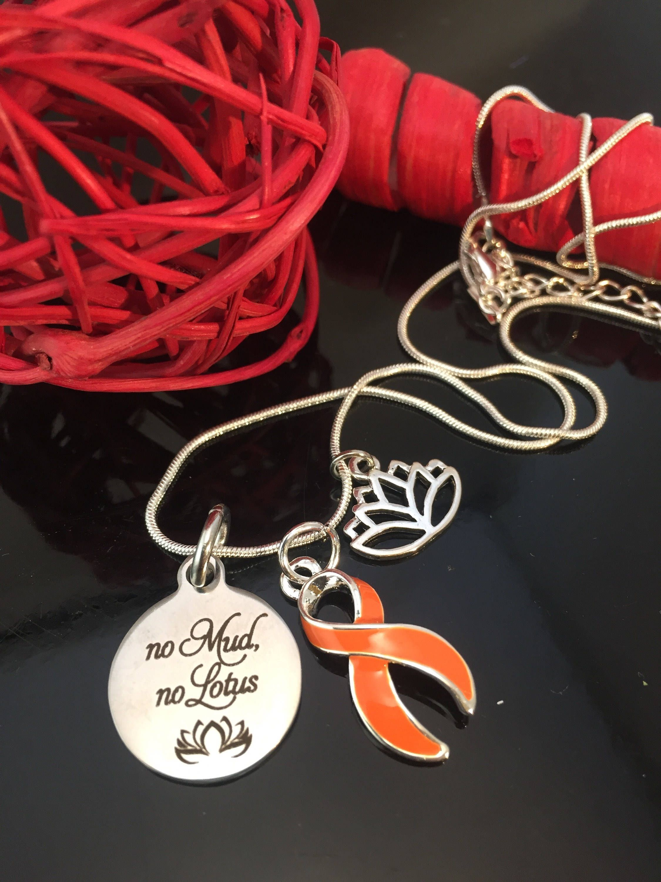 lotus orange necklace leukemia pin cancer bracelet charm no multiple mud awareness ribbon kidney