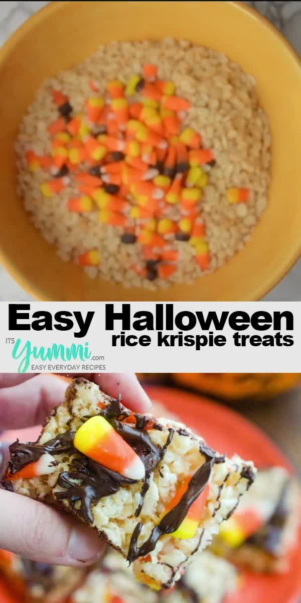 Halloween Rice Krispie Treats are the perfect sweet crispy treats for a #Halloween party or #TrickOrTreat. Add popsicle sticks and they can easily become Halloween Rice Krispie treats on a stick! #halloween #halloweenideas #fallrecipes #easyhalloweenrecipes #halloweendesserts #ricekrispietreats #halloweentreats #easydesserts #crispytreats