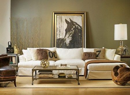 Elegant country style living room with oversized horse art