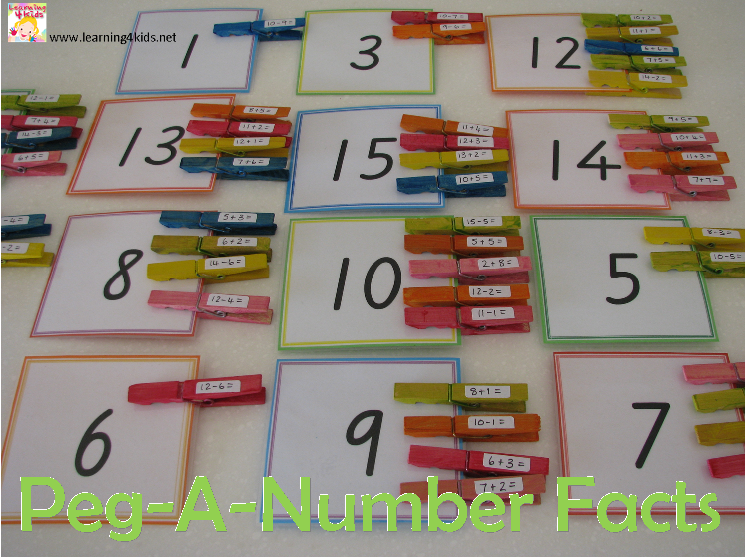 Peg-A-Number Fact Game | Number, Plays and Learning