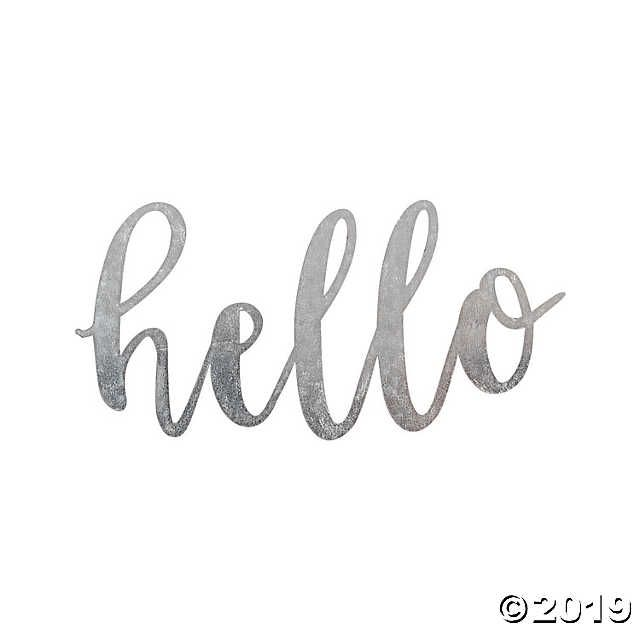 Large Galvanized Metal Hello Cutout Silver Hello Sign Cool Diy Projects Galvanized Metal