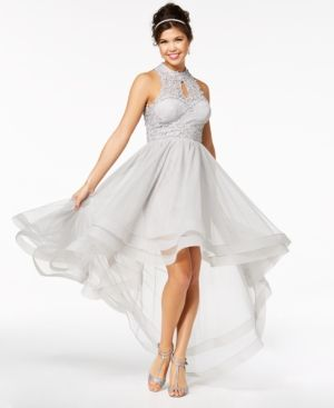 e8dab6c8a Say Yes to the Prom Juniors' Embellished Lace High-Low Dress, a Macy's  Exclusive Style - Silver 15