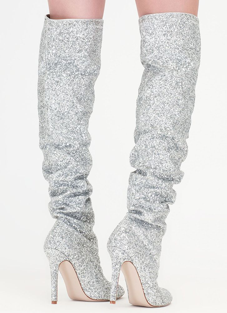 82c794d9638 So Much Sparkle Glitter Thigh-High Boots SILVER