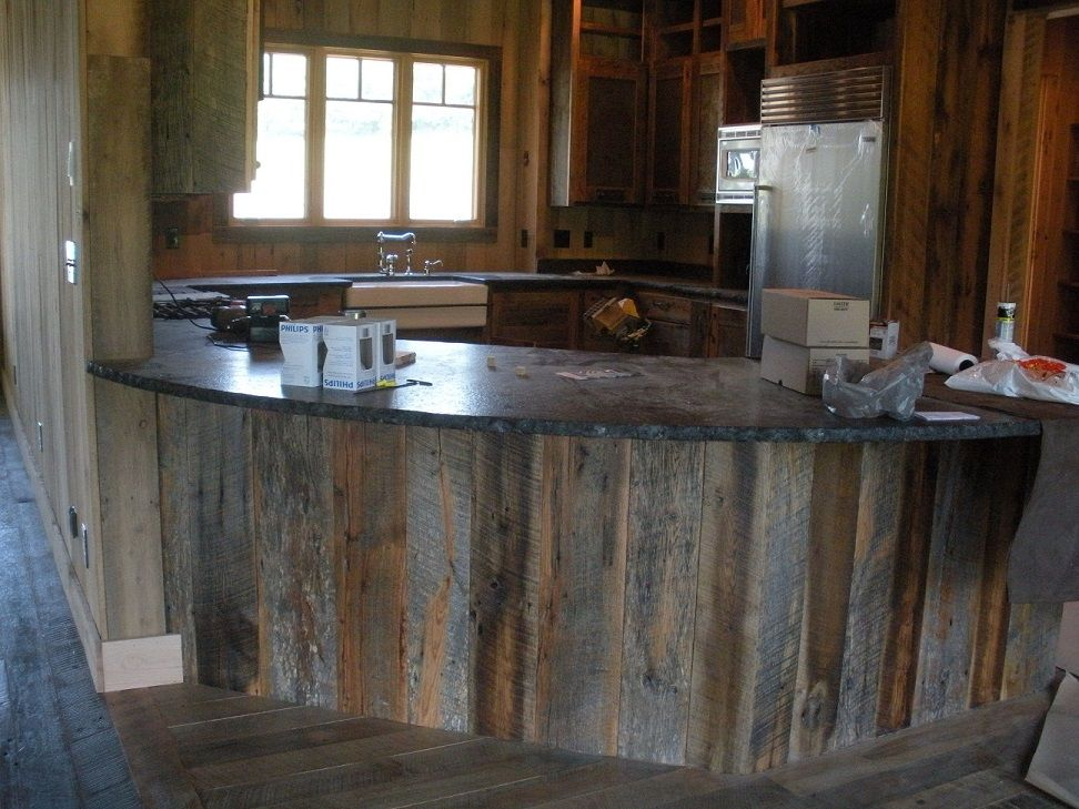 Reclaimed weathered gray board island facing for Reclaimed wood decking