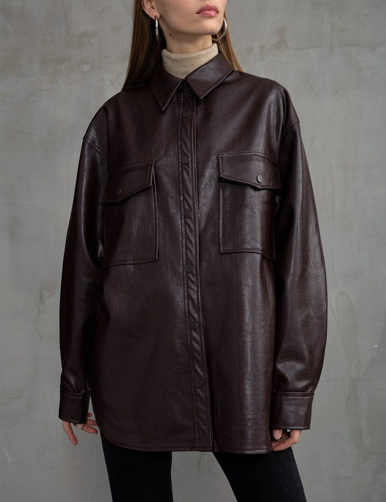 Brown Vegan Leather Shirt Leather Shirt Vegan Leather Faux Leather Skirt