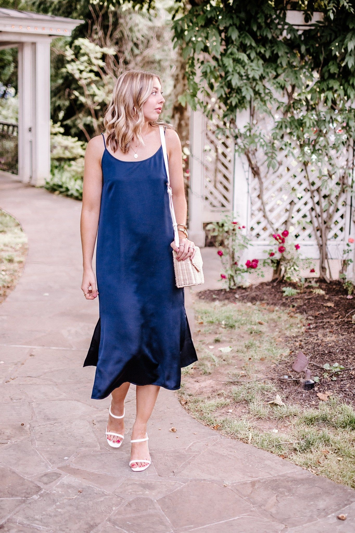 Navy Slip Dress How To Style A Slip Dress For Summer Slip Dress Outfit Summer Fashion Outfits Casual Slip Dress [ 2048 x 1365 Pixel ]