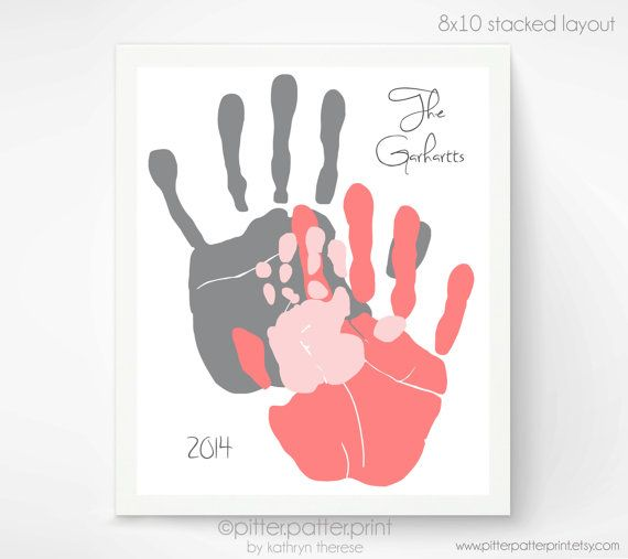 Handprint Family Portrait Art Gift For New Dad First