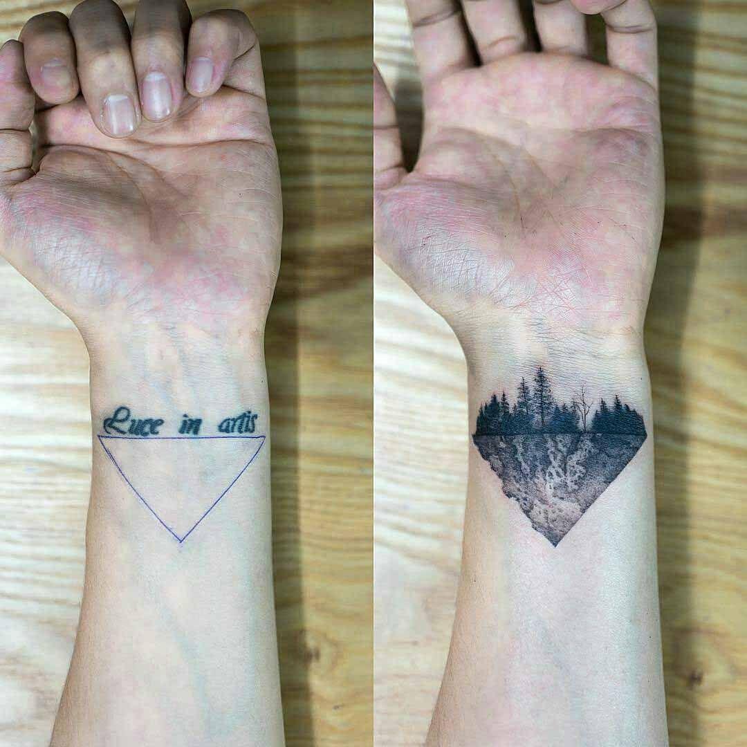 86635bb1e2efb Triangle Cover Up Tattoo on Wrist | Wedding | Tatuaje cover up ...