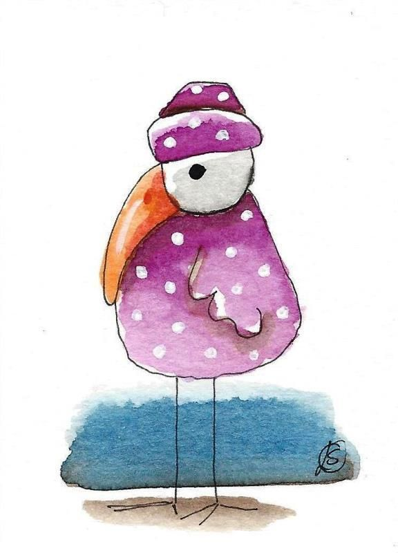 ACEO Original watercolor art painting whimsical purple bird with white dots #IllustrationArt