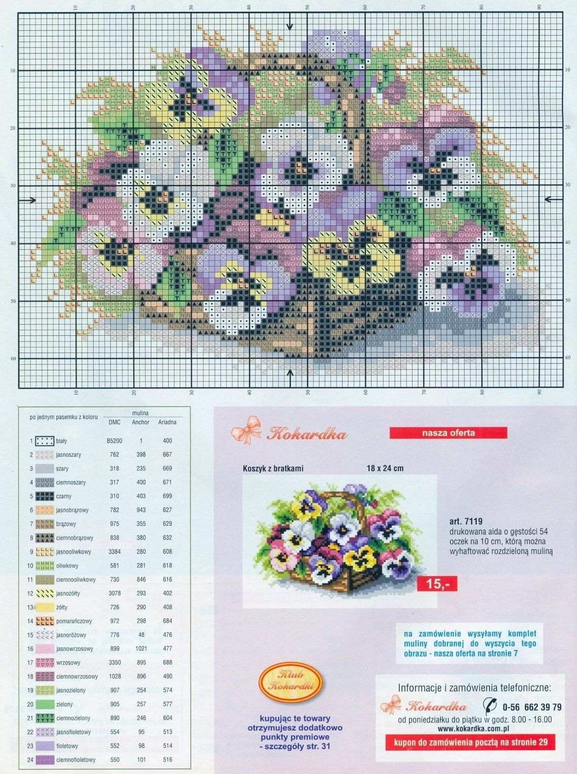 3 Cross-stitch Basket of Pansies | cuadros punto cruz y otras ...