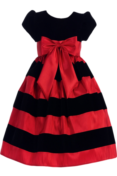 3639bc583 Black Velvet   Red Taffeta Striped Girls Holiday Dress 3m-10