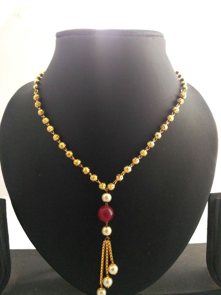 7593a37a71859 22 k one gram gold plated ball chain necklace pearl set | eBay ...