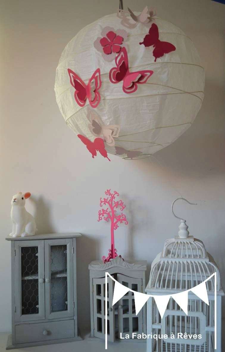 luminaire suspension abat jour papillons fleurs rose fuchsia rose