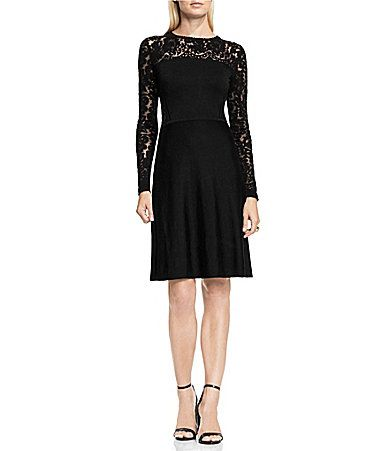 Vince Camuto Burnout Velvet Flare Sweater Dress #Dillards