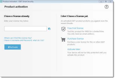 eset smart security 9 activation key trial
