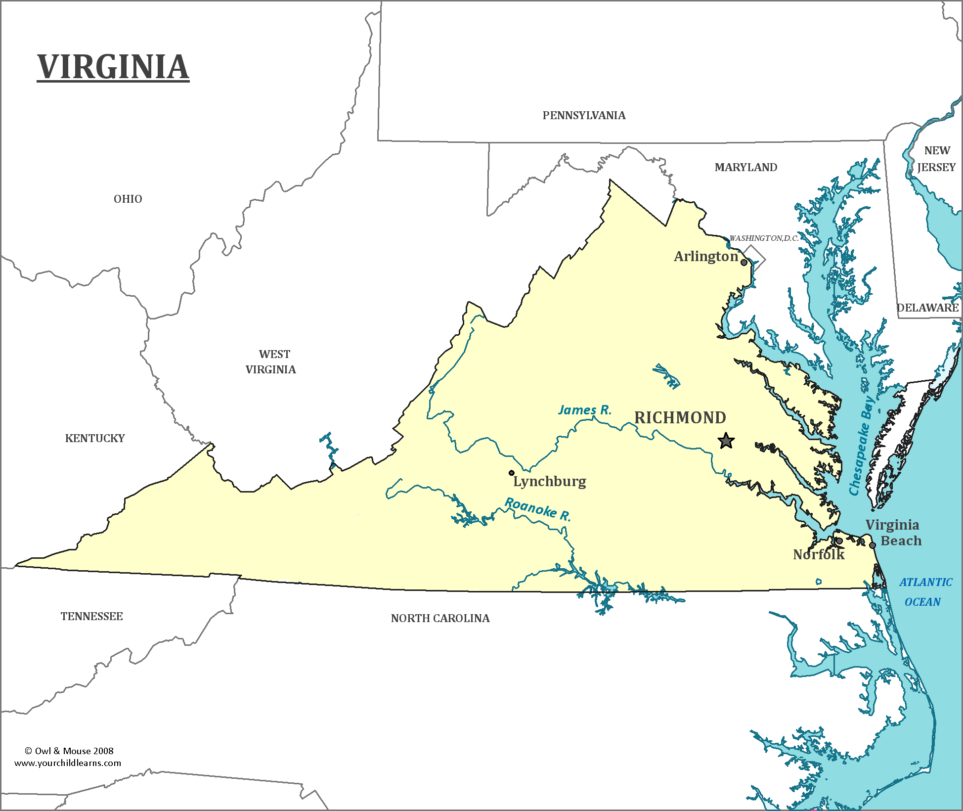 Map of Virginia, major cities, states and capitals ...