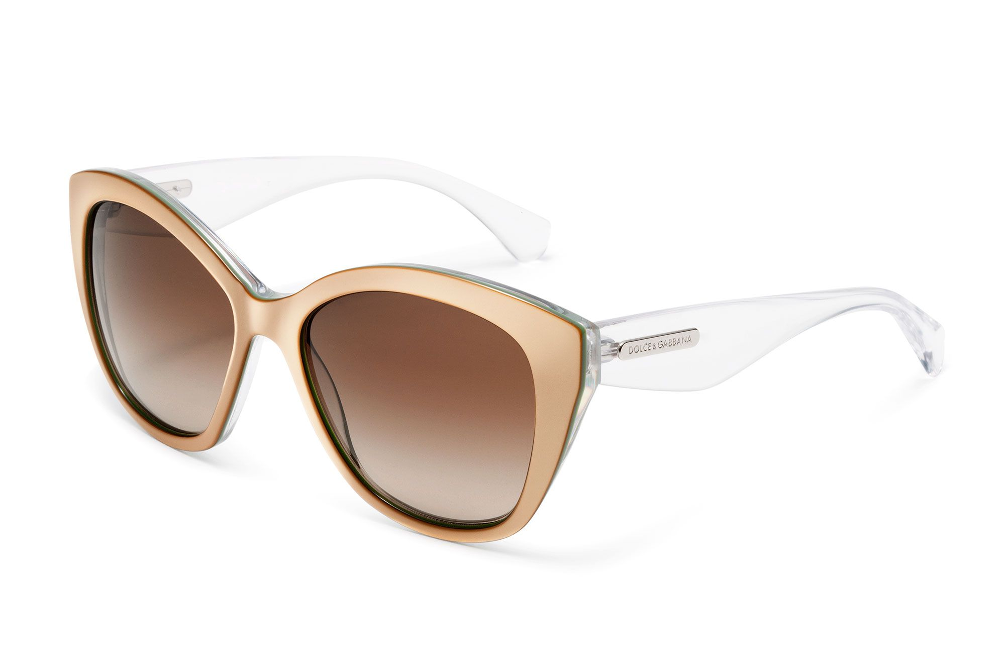 34f0ad26d3b Women s pale pink acetate sunglasses with butterfly frame and Dolce    Gabbana logo on the temples. Visit D G Eyewear website for more details.