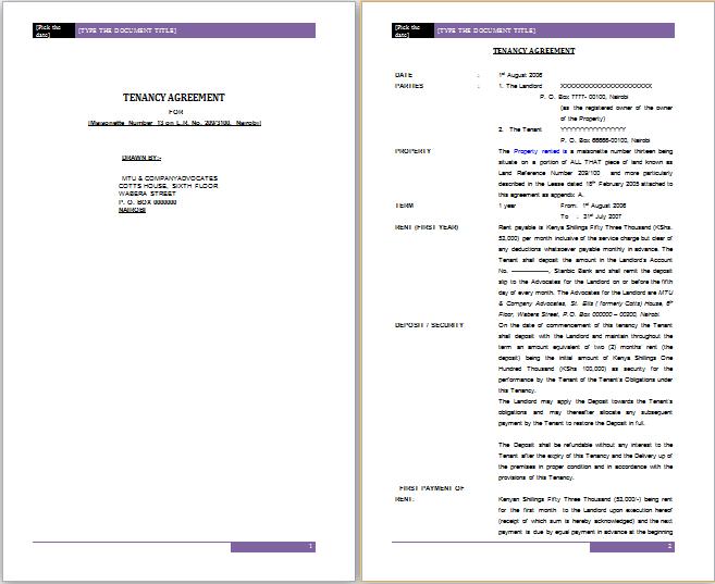 tenancy agreement sample in word