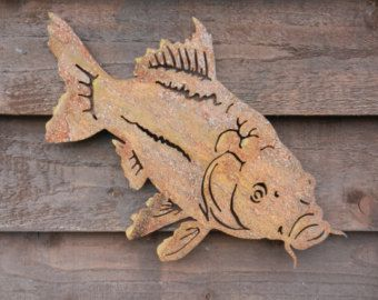 Karpers In Tuin : Karper muur decor metalen vis wall art rusty metalen vis grof
