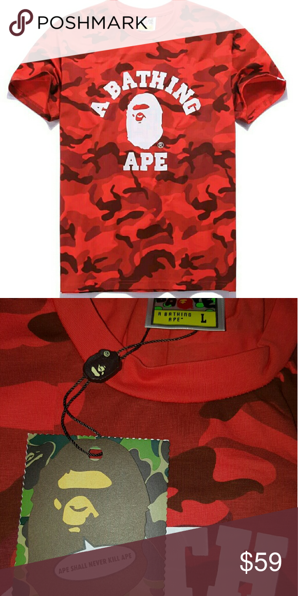 A Bathing Ape Bape Red Camo Shirt Tee