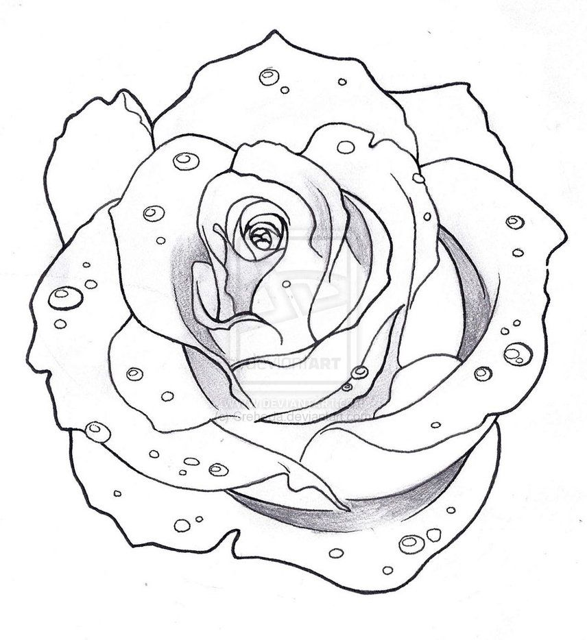 Heart And Roses Tattoo Drawings