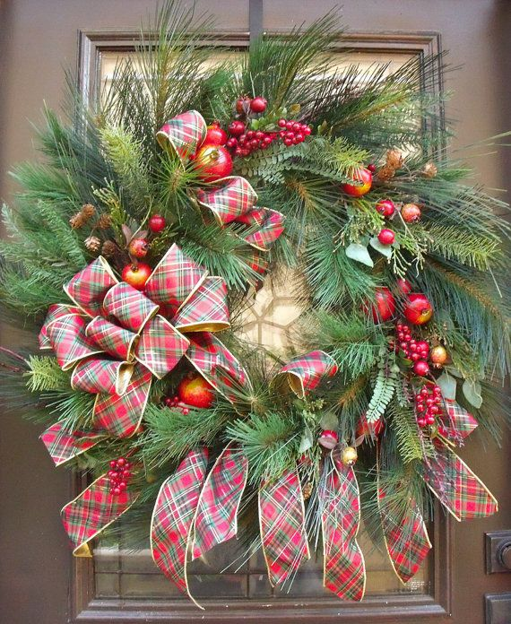 williamsburg christmas decorations traditional christmas wreath wispy pine wreath christmas decor - Williamsburg Decorated For Christmas