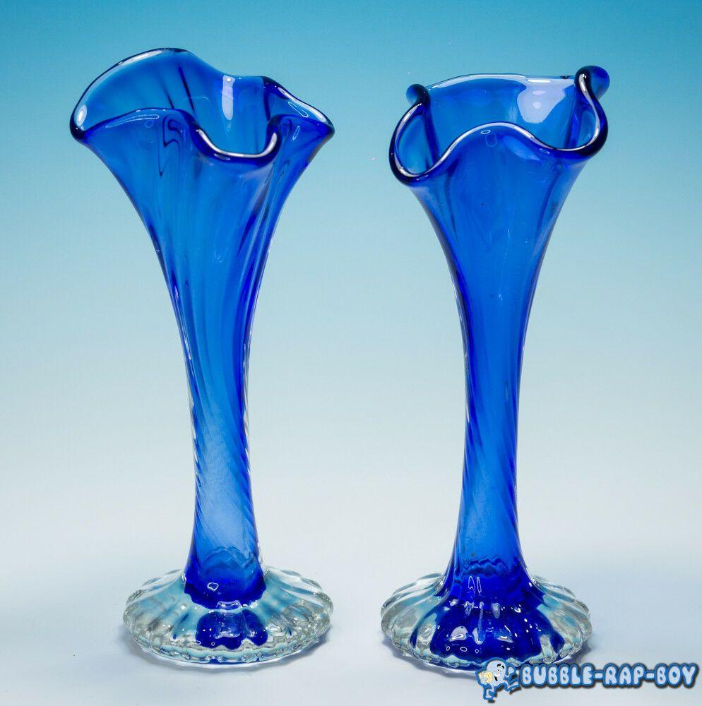 Stunning Pair Of Glass Retro Vases Pottery & Glass