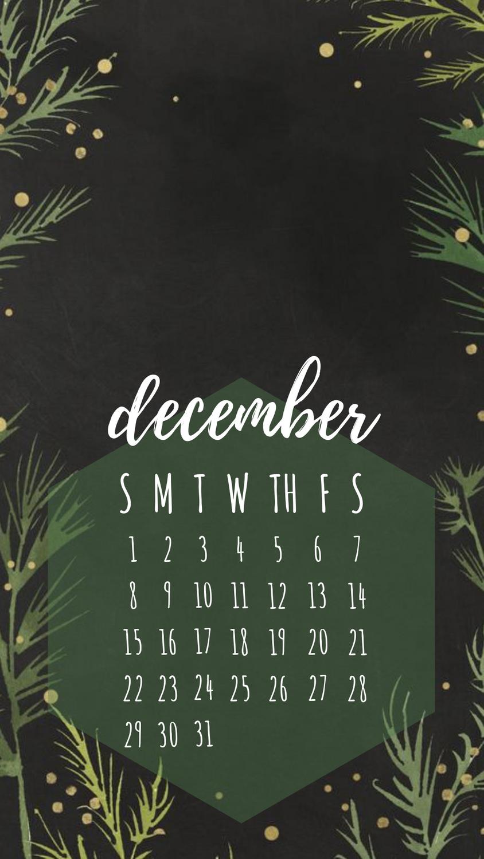 December 2019 iPhone calendar wallpaper December