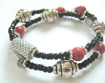 OOAK Black Red Recycled Paper Beads Memory Wire Adjustable Bracelet Silver Jewelry Rolled White Upcycled Mail Repurposed Envelope Jewelry