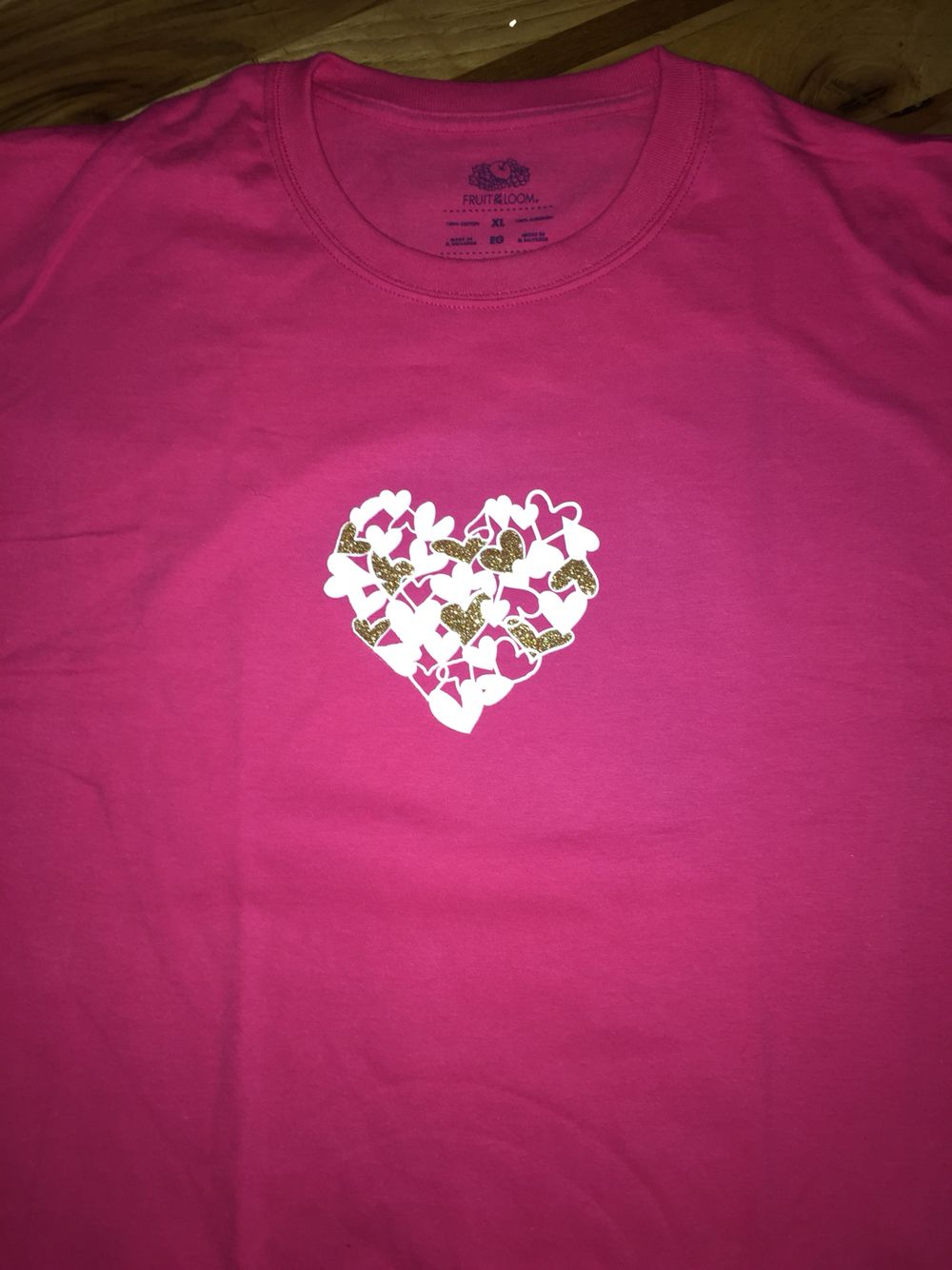 Hearts in heart: white/glitter gold adult t-shirt