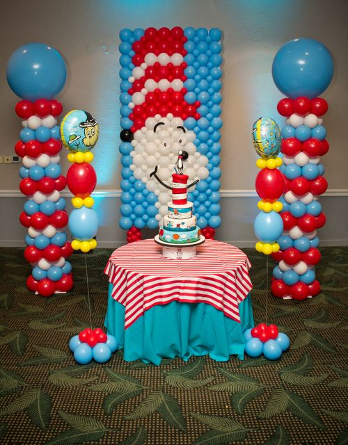 Dr Seuus and Friends Birthday Party Ideas Balloon backdrop
