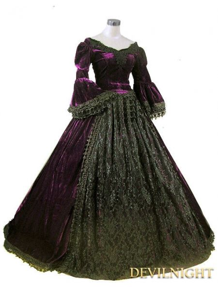 Purple and Black Velvet Lace Victorian Ball Gowns - Devilnight.co ...