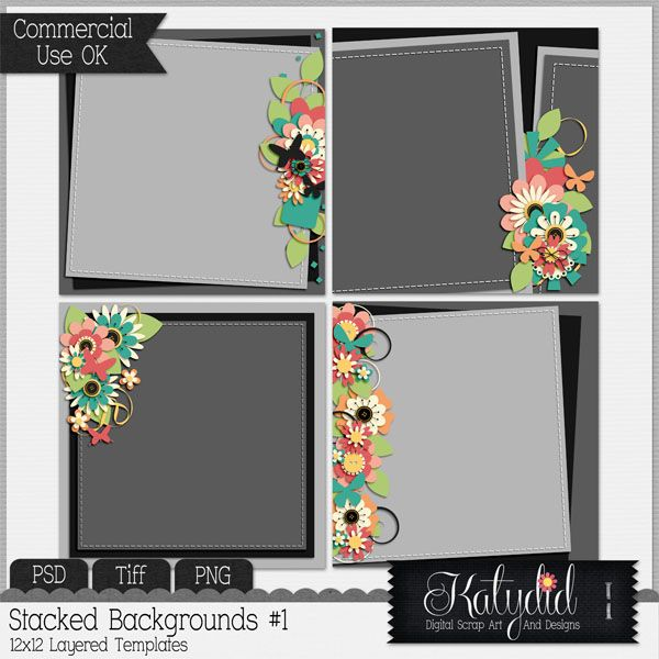 Stacked Backgrounds Templates Pack No 1 , PSD, TIFF, PNG, Commerical Use, Scrap, Scrapbook