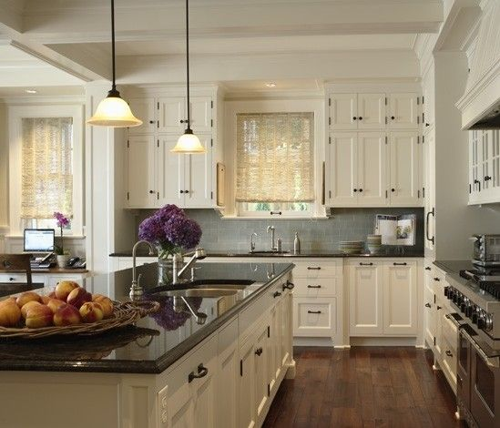 Antique Cabinets Kitchen: Dark Granite Countertop, White Cabinets, Blue Backsplash