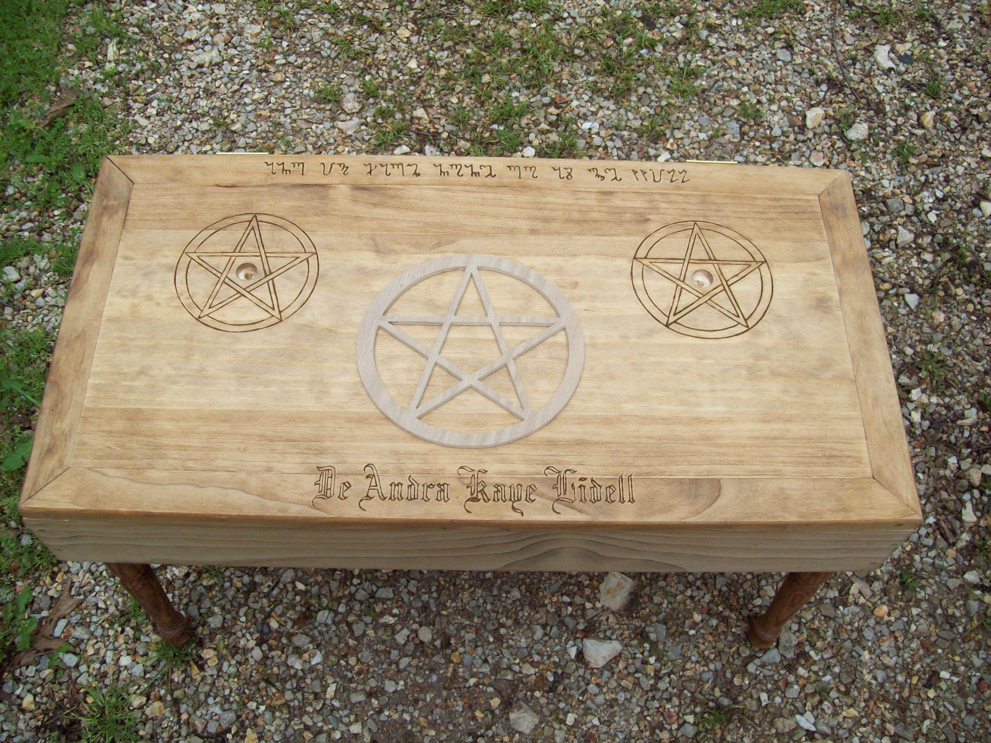 Haxon witchcraft symbols and rituals | wiccan coffee table style altar for pagan wiccan