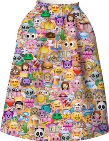 EMOJI HAPPY PATTERN Full Skirt by M.O.K. on Print All Over Me. #paomfullskirt #MOK #paomprintoftheweek
