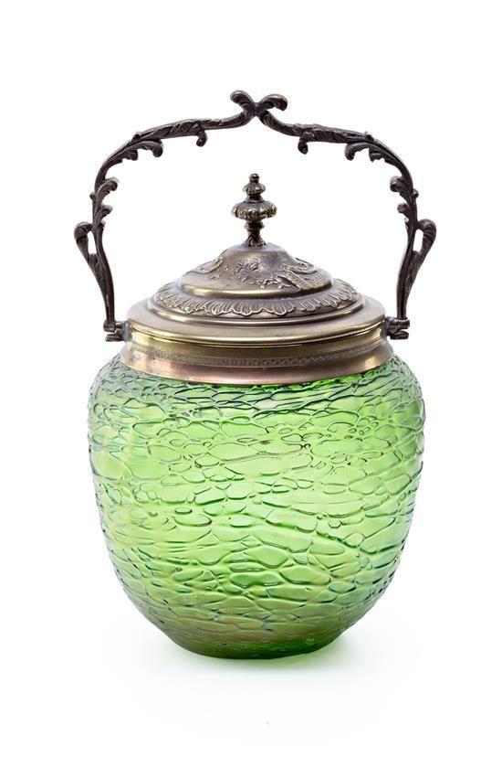 Victorian Art Glass Biscuit Jar.