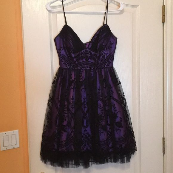 Purple And Black Spaghetti Strap Homecoming Dress With
