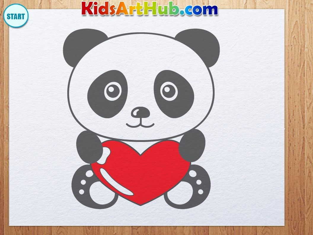 how to draw valentine day panda with heart the art of drawing in